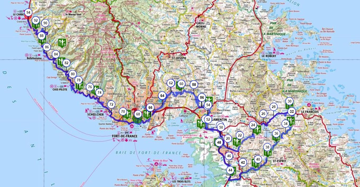 Martinique carte touristique cycliste martinique etape 2 partie 1