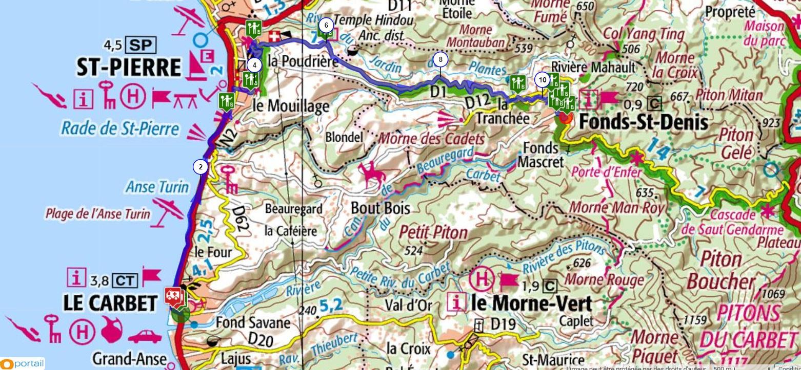 Martinique carte touristique cycliste martinique etape 2 partie 2