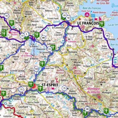 Martinique carte touristique cycliste martinique etape 7