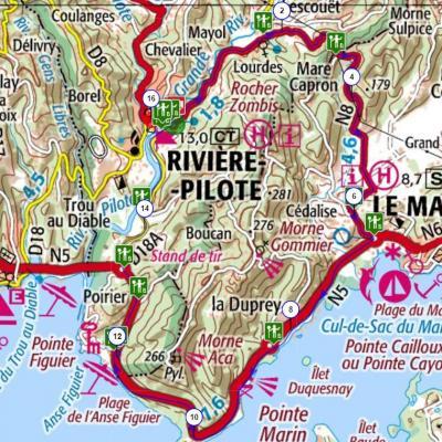Martinique carte touristique cycliste martinique etape 8 partie 2