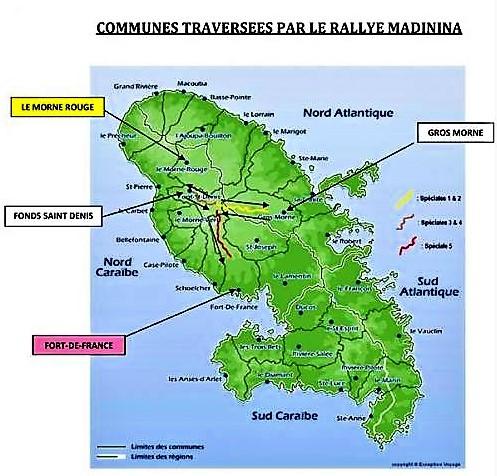 Martinique carte touristique rallye regionale madinina