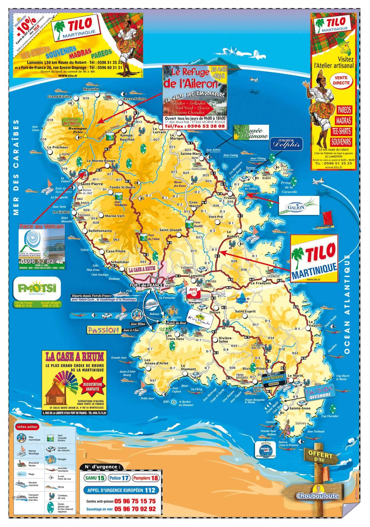Carte touristique martinique